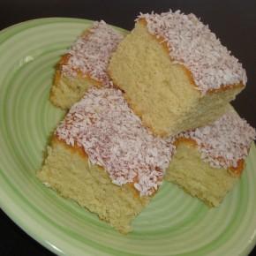 Jammy coconut sponge squares