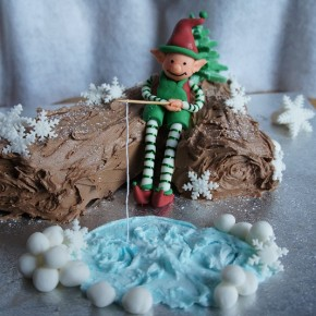 Festive chocolate log