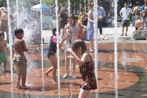playing in Boston fountain