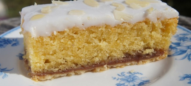 Iced Bakewell Slices