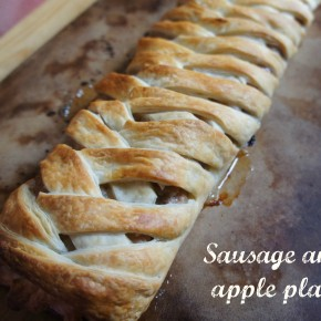 Sausage and apple plait