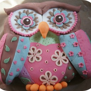 Patchwork owl birthday cake